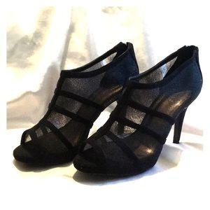 Black mesh like heels